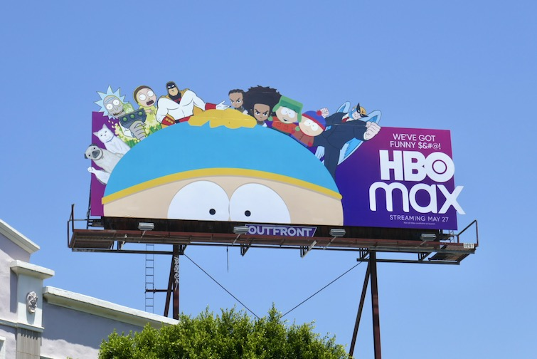 Exemplo de um dos tipos de segmentação. A imagem mostra um outdoor com alguns personagens de desenhos disponíveis no catálogo do HBO Max, como Rick and Morty. O outdoor é o anúncio da estreia da plataforma de streaming nos Estados Unidos.